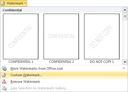 Watermark Gallery in Word 2010