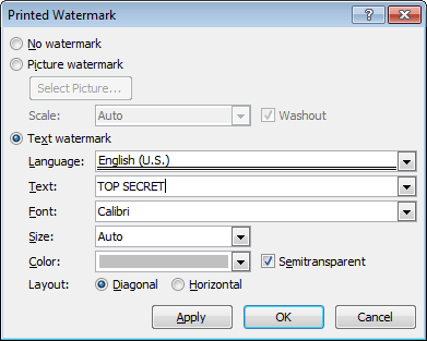 Printed Watermark in Word 2010