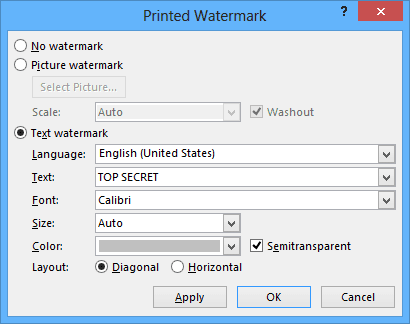 Printed Watermark in Word 2013