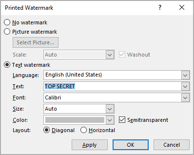 Watermark Gallery in Word 365