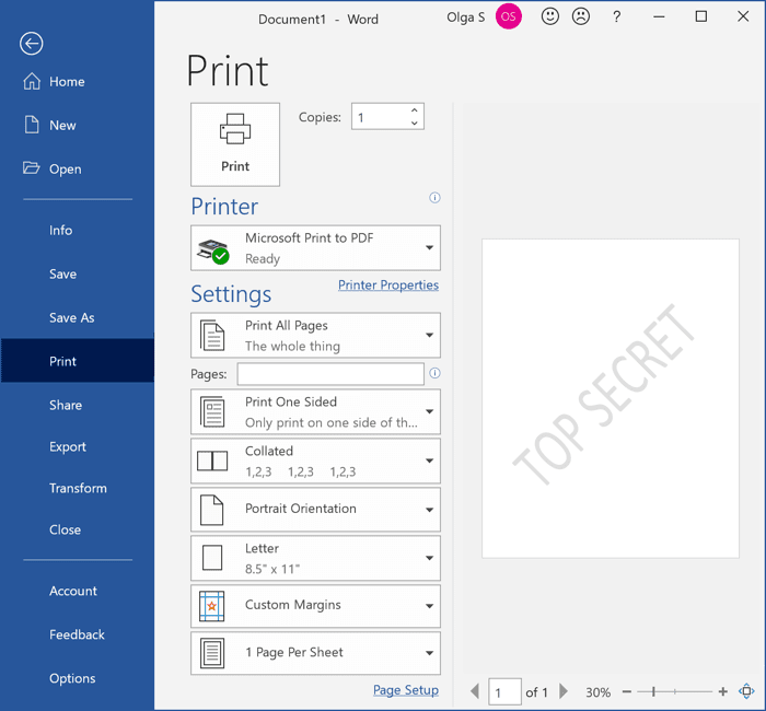 Printed Watermark in Word 365