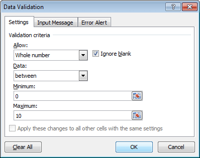 Number validation in Excel 2010