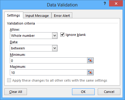 Number validation in Excel 2013