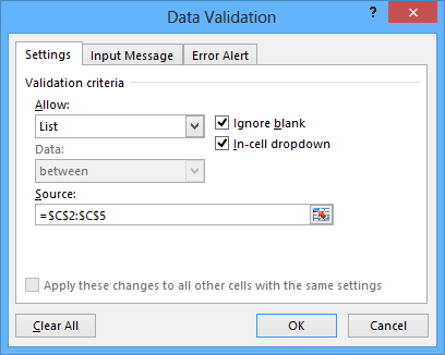 List validation in Excel 2013