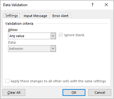 Data Validation in Excel 365