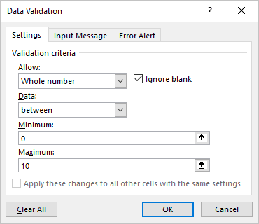 Number validation in Excel 365