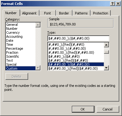 Format Cells in Excel 2003