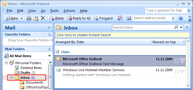 Number of Unread e-mails in Outlook 2007