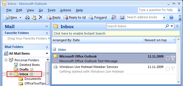 Total e-mails  in Outlook 2007