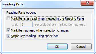 Reading Pane Outlook 2010