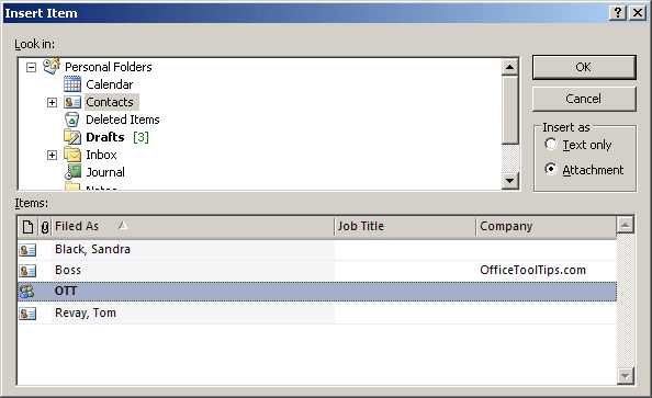 Insert Item in Outlook 2007