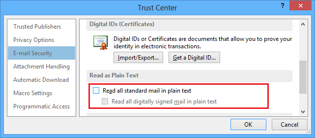 Read as plain text in Outlook 2013