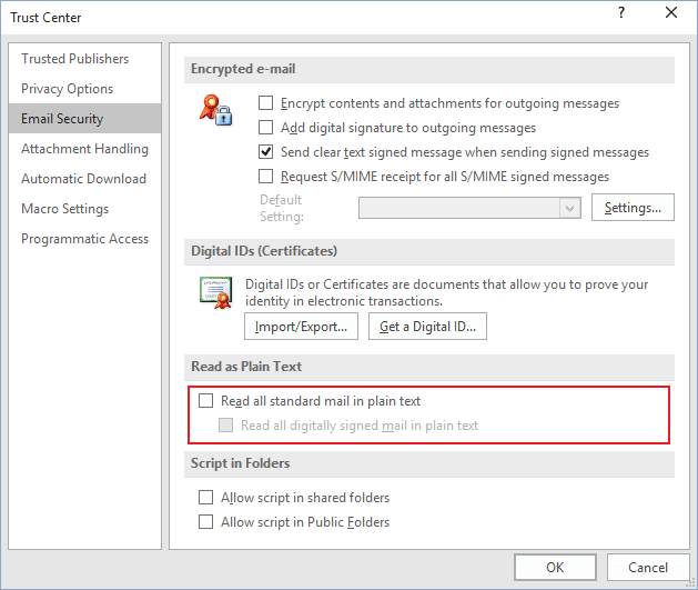 Read as plain text in Outlook 2016