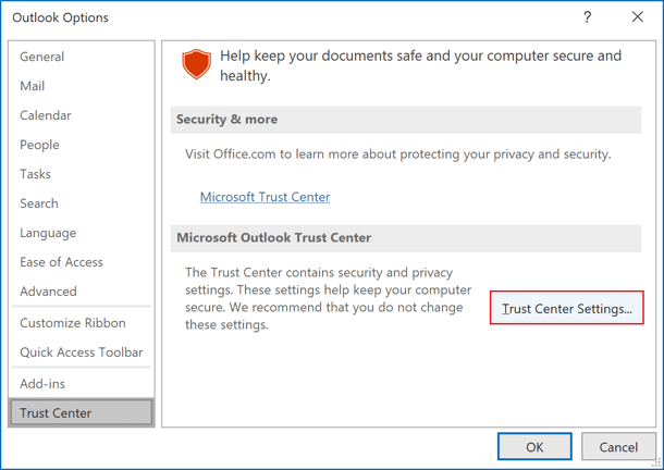 Trust Center in Outlook 365