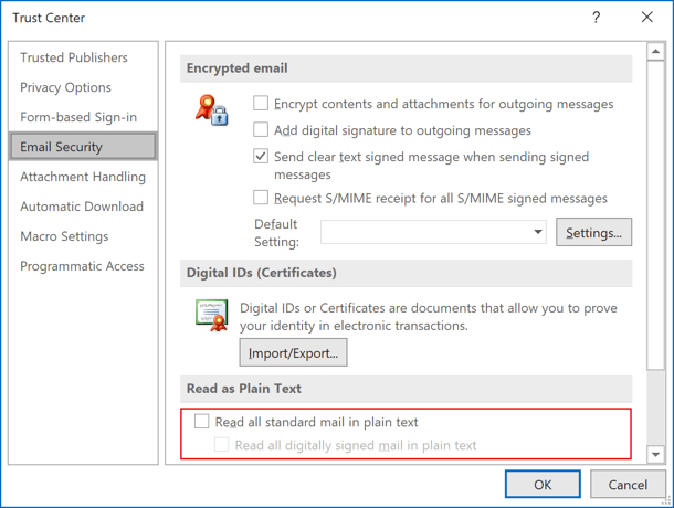 Read as plain text in Outlook 365