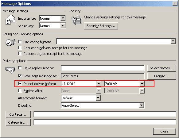 Message Options in Outlook 2003