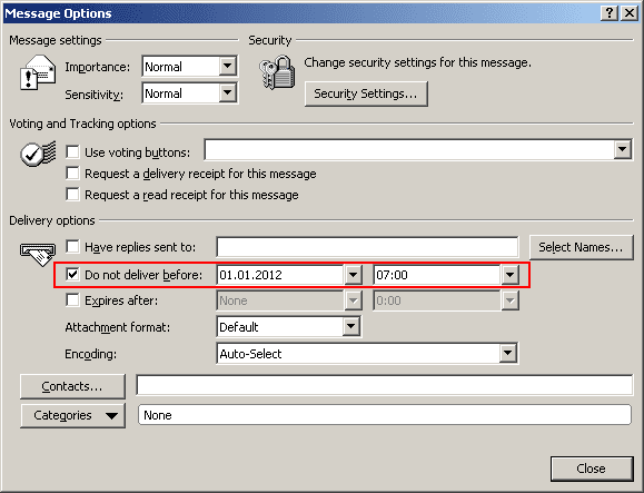 Message Options in Outlook 2007