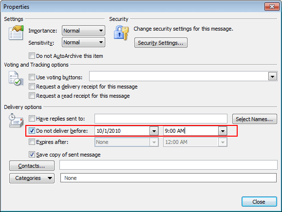 Message Options in Outlook 2010
