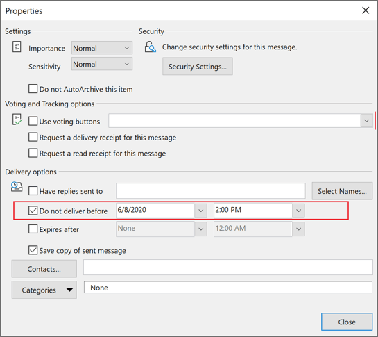 Message Options in Outlook 365
