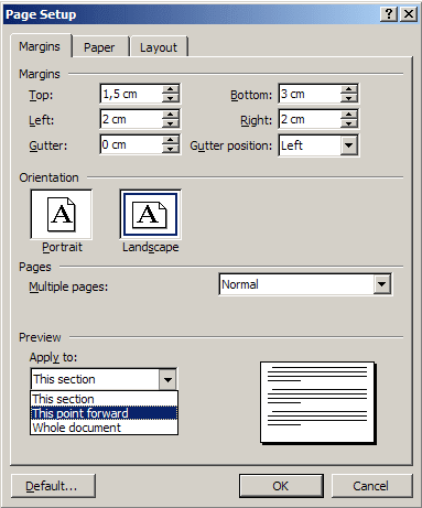Page Setup in Word 2003