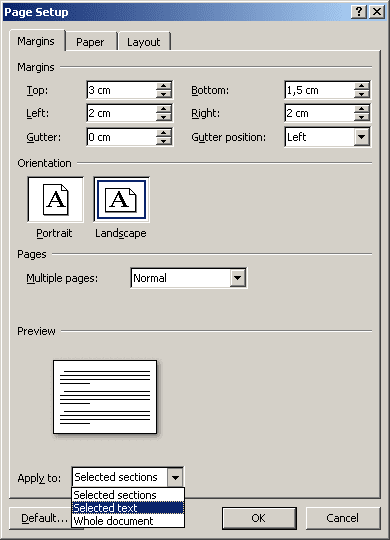 Page Setup in Word 2007