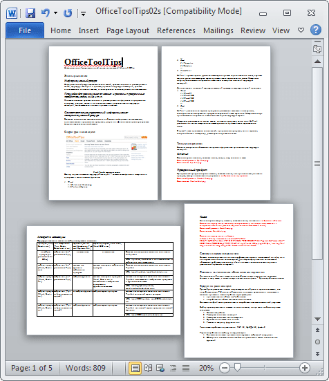 Different page orientations example Word 2010