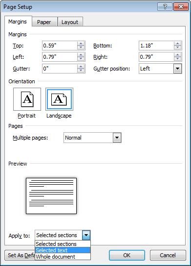 Page setup in Word 2010