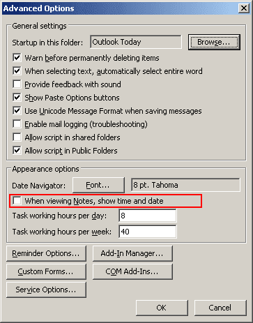 Advanced Options in Outlook 2003