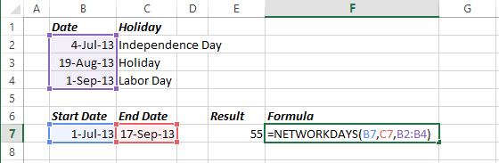 Number of days in Excel 2013
