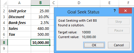 Goal Seek Status in Excel 2013