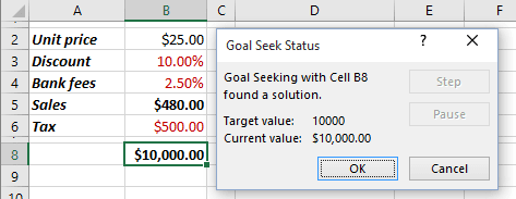 Goal Seek Status in Excel 2016