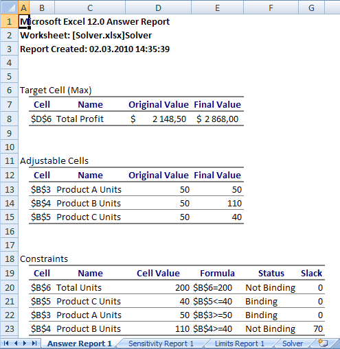 Results in Excel 2007