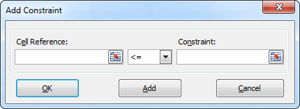 Add Constraint in Excel 2010