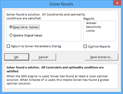 Solver Results in Excel 2013