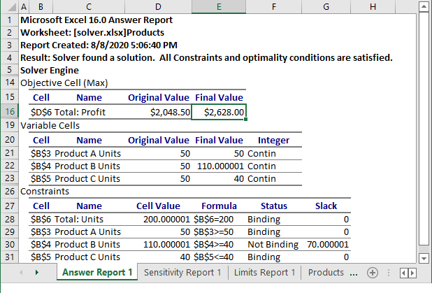 Solver Results in Excel 365