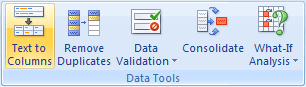 Data Tools in Excel 2007