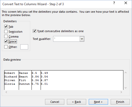 Convert text to columns in Excel 2016
