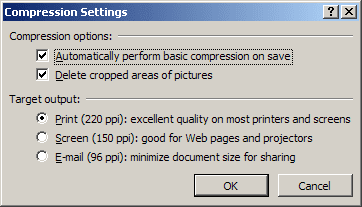 Compression Settings in Word 2007