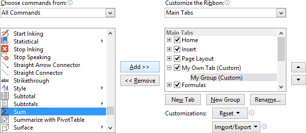 Add command in the group in Excel 2013