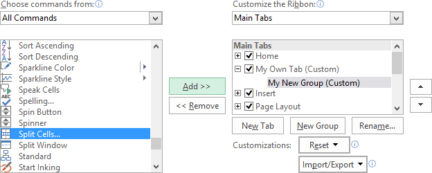 Add command in the group in Excel 2016