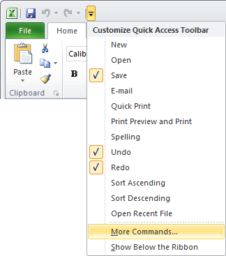 Quick Access Excel 2010