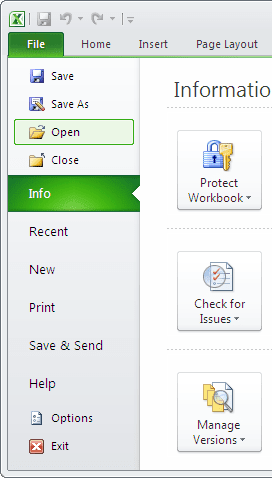 Open in Excel 2010