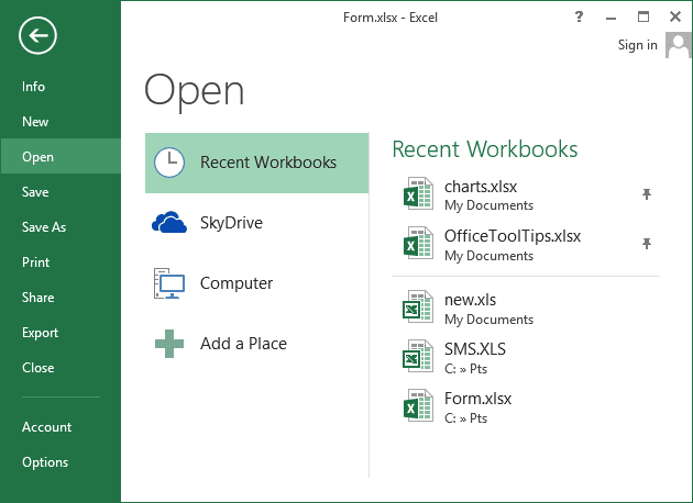 Open in Excel 2013