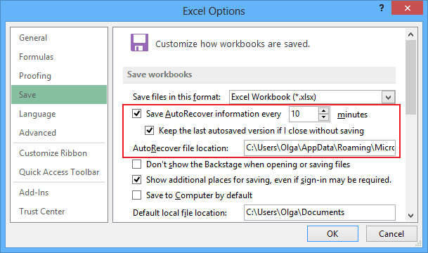 Save AutoRecover Excel 2013