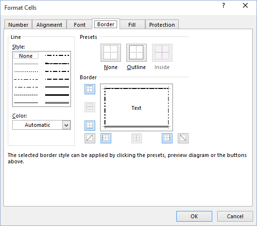 Apply or remove cell borders - Microsoft Excel 2016