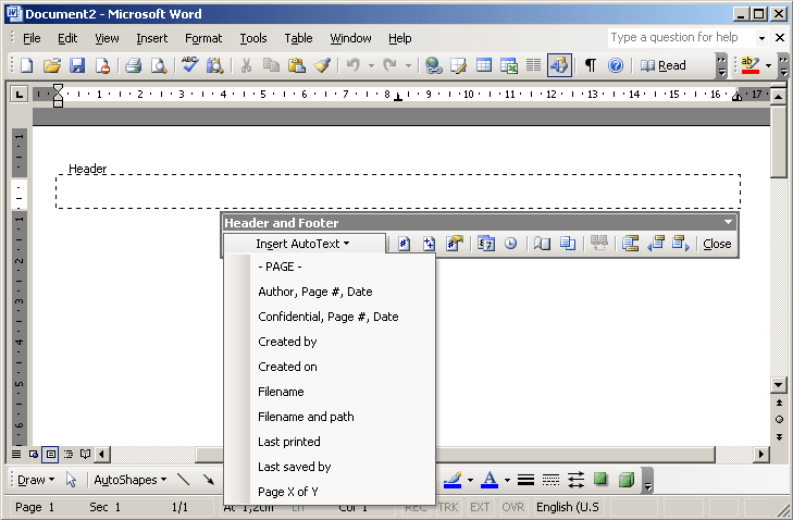 header in Word 2003