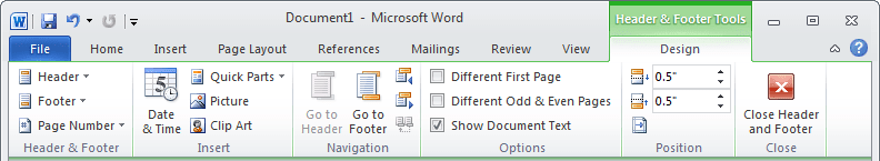 Header and Footer Tools in Word 2010