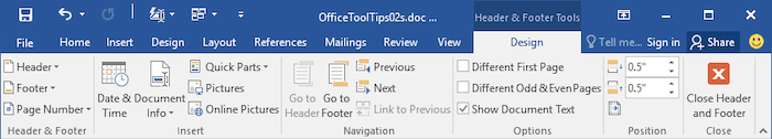 Header and Footer Tools in Word 2013