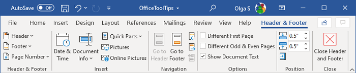 Header and Footer Tools in Word 365