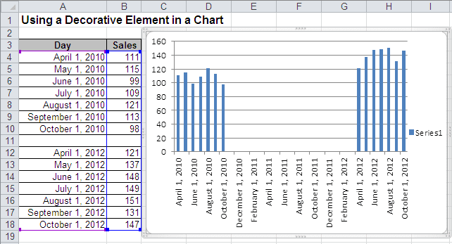 Column chart with gaps in Excel 2010